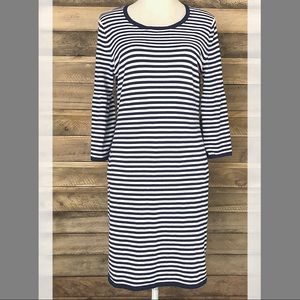 Sail to Sable navy & white striped sweater dress